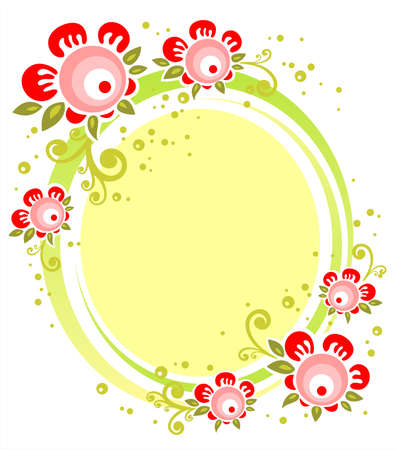 Ornate yellow frame with pink flowers on a white background. Vector