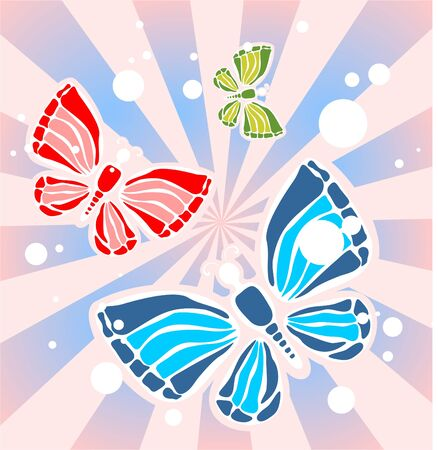 Three ornate butterflies on a pink striped background. Stock Vector - 2937917