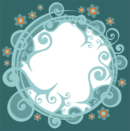 Dark  abstract floral frame with orange curls  on a white background. Vector