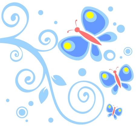 Kunstvolle Locken und Schmetterlinge auf weißem Hintergrund.