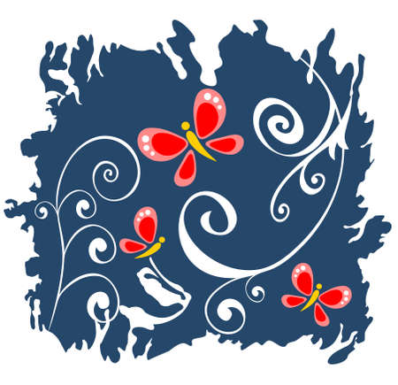 White ornate curls and red butterflies on a dark blue background. Vector