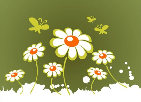 Ornate white spring flowers on a green background. Vector