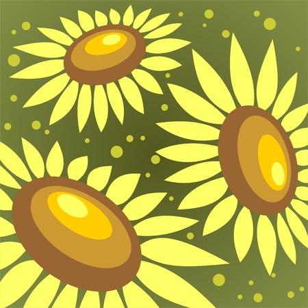 Three ornate sunflowers on a dark green background. Vector