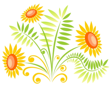 girasol: Tres adornado de flores aisladas sobre un fondo blanco.
