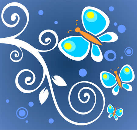 Ornate white curls and butterflies on a blue background. Vector