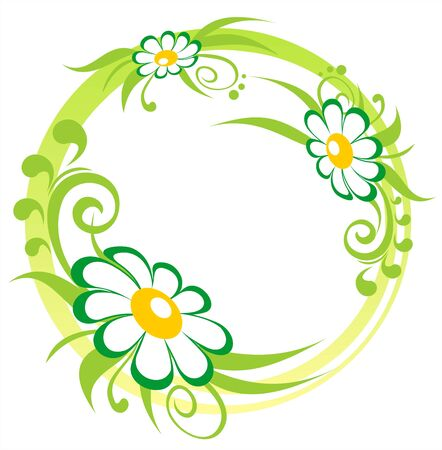 Three ornate flowers and curls with green strips  on a white background. Stock Vector - 2995005