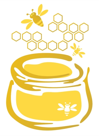 Stylized bank with honey and bees isolated on a white background.