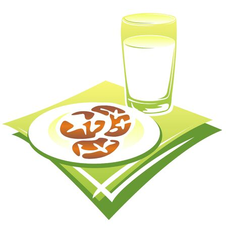 milk and cookies: Stylized milk, cookies and green napkin isolated on a white background.