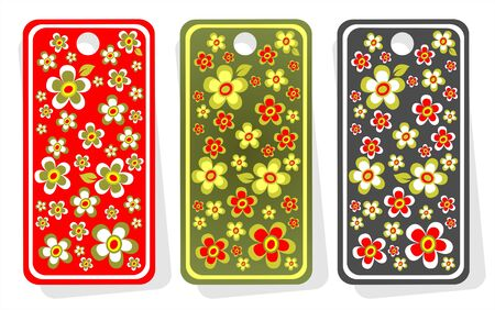 stylistic: Three ornate price tags with flowers isolated on  a white background.