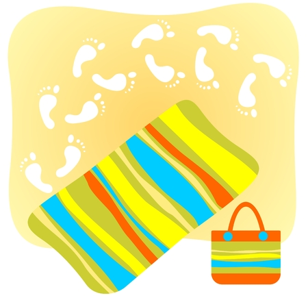 footprints sand: Colorful beach towel and footprints  at sand. Illustration
