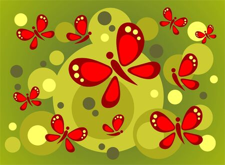 Red ornate butterflies and green circles on a dark green  background. Vector