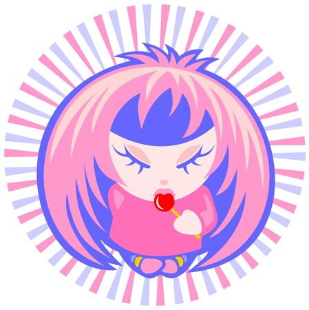 Cartoon emo girl with candy isolated on a white striped background. Vector