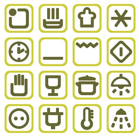 Sixteen household icons isolated on a white background. Vector