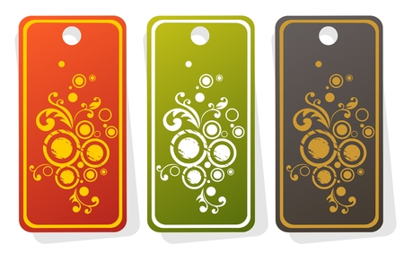 stylistic: Three ornate price tags with circles isolated on  a white background.