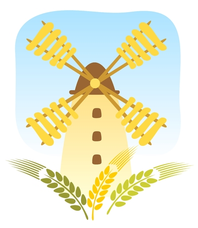 Cartoon windmill and wheaten ears on a sky background. Vector