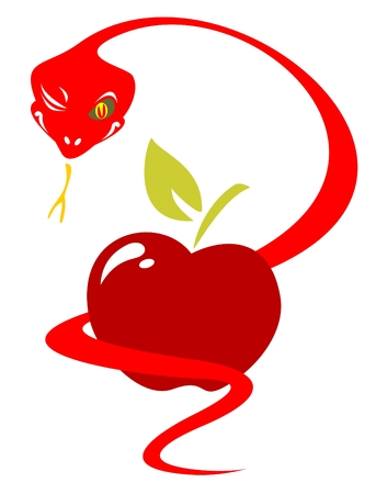 an adder: Red stylized snake with apple isolated on a white background.