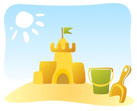 Ornate sand castle and beach toys on a sky background.
