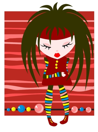 emo: Cartoon emo girl on a red striped background with bead.