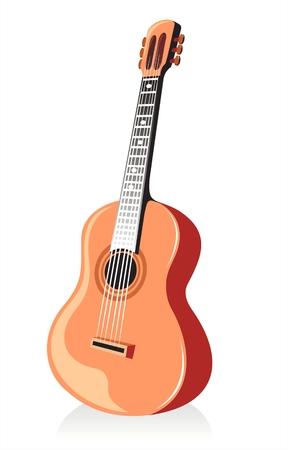 Ornate guitare à l'ombre isolé sur un fond blanc.