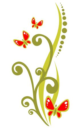 Red ornate butterflies and green curves isolated on a white background.