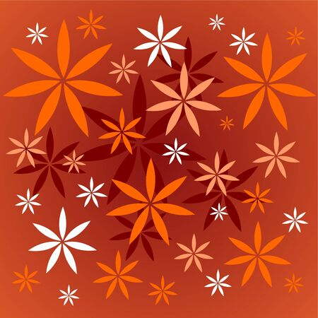 Stylized flowers pattern on a dark red background. Vector