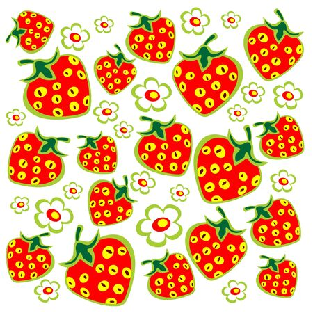 Ornate strawberry and flowers isolated on a white background. Vector