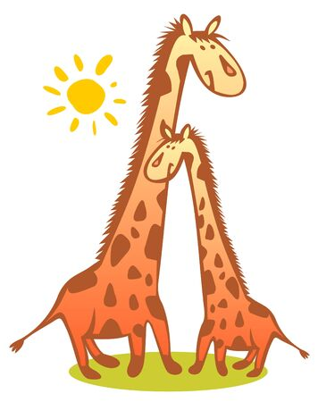 Two funny giraffes and sun isolated on a white background. Vector