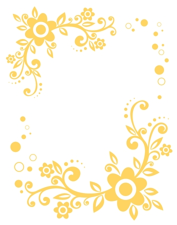 stylistic: Stylized flowers pattern isolated on a white  background.