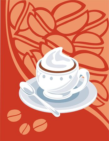 Cup of hot coffee on an orange flower background. Stock Vector - 3097299