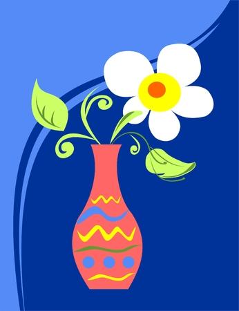 White decorative flower in a patten orange vase on a dark blue background. Illustration