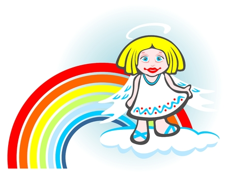 sincere: Cheerful angel and rainbow isolated on a white  background.