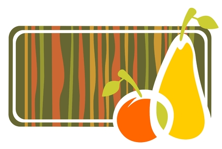 The stylized apple and pear and striped frame on a white background.