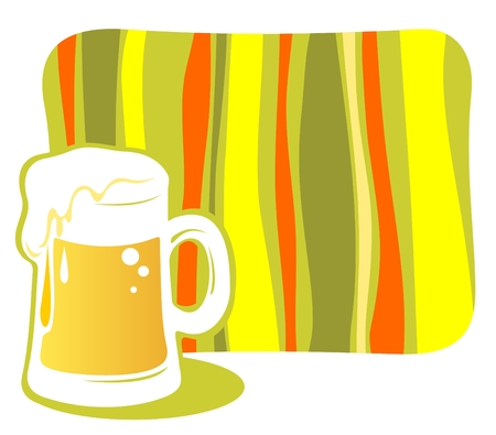 Ornate beer mug and striped frame on a white background. Vector