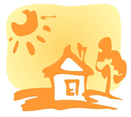 Cartoon house and sun on a yellow background.