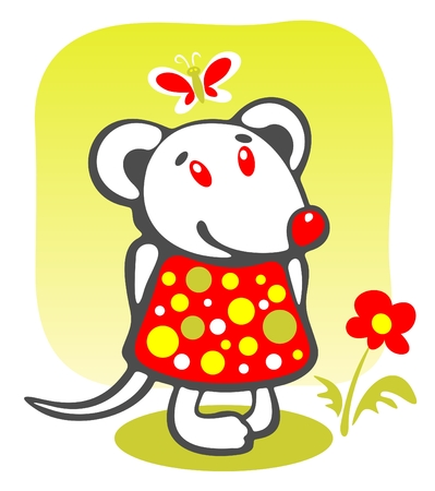 Cheerful mousy and flower on a green background. Vector