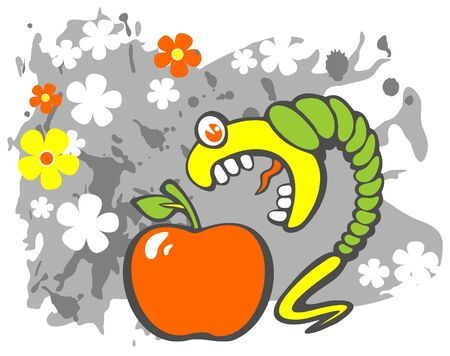 Stylized caterpillar and apple on a gray grunge background with flowers. Vector