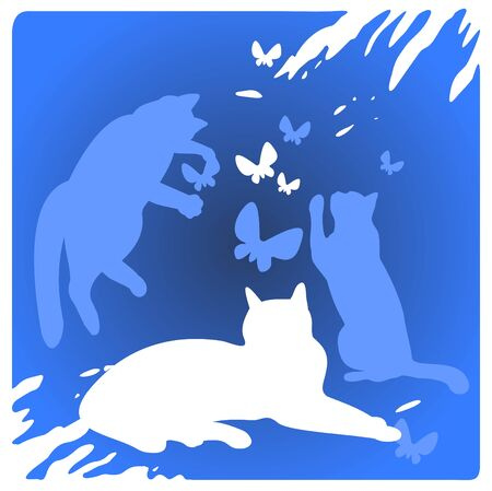 frisky: Three cats silhouettes and butterflies on a blue background.