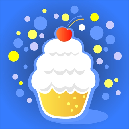 Cartoon cupcake with cherry on a blue background.