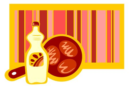 cutlets: Bottle of vegetable oil and frying pan with cutlets on a striped background. Illustration