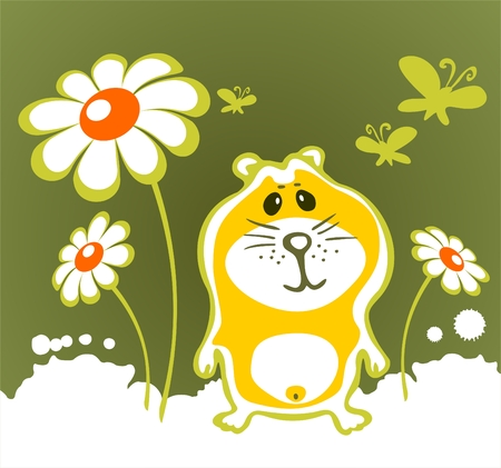 Cheerful hamster and flowers  on a green background. Vector