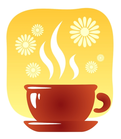 Stylized tea cup and flowers on a yellow background. Vector