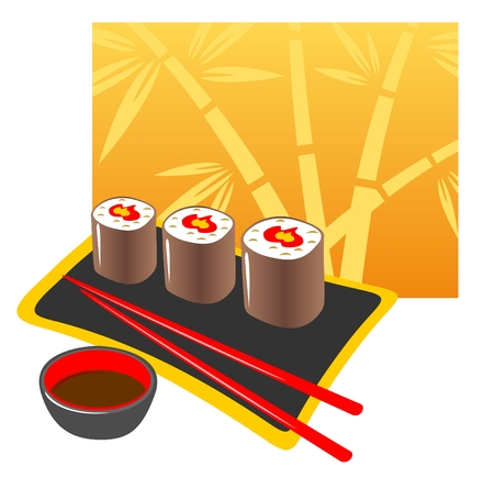 japanese cuisine: Plate from a Japanese rolls, chopsticks and soya  sauce on a white background.