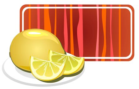 Stylized lemon and striped frame isolated on a white background. Vector