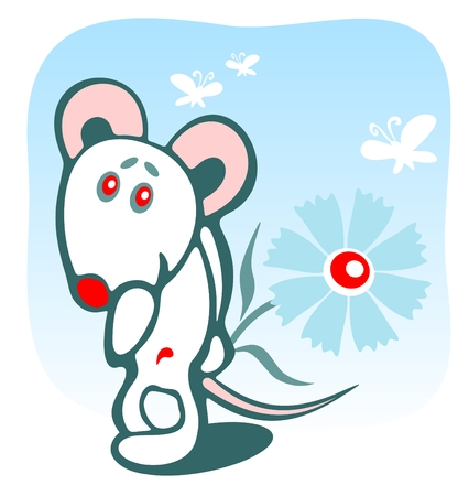 Cheerful mousy and flower on a blue background. Vector