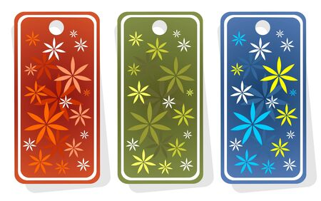 Three ornate price tags with flowers isolated on  a white background. Vector