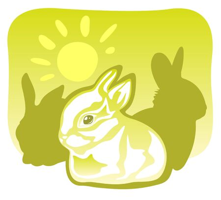 Three rabbits and sun on a green background. Vector