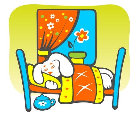 安らぎ: 緑の背景に陽気な睡眠漫画子犬。