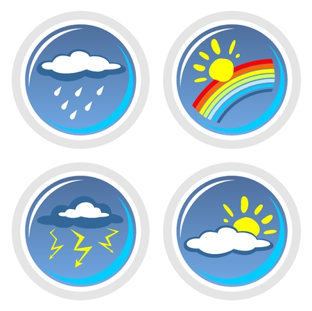 Four ornate weather symbols isolated on a white background.
