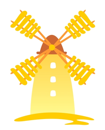 windmills: Cartoon retro windmill isolated on a white background. Illustration