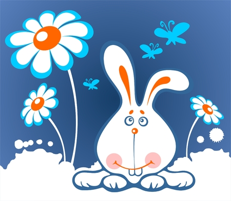 Cheerful cartoon rabbit and flowers on a white background.